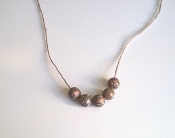 Picasso Jasper Bead Necklace on Linen Thread