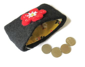 Black Upcycled Wool Felt Purse - Felted Change Purse - Coin Purse - Coin Wallet