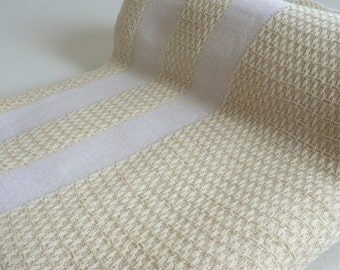 Turkish Towel Peshtemal towel soft Cotton Stone washed thick Aegean towel in ivory color with white stripes