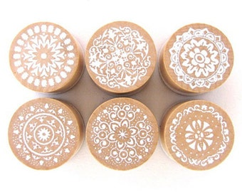 6 Pcs Rubber Stamps - Round Lace Stamps Wooden Stamps