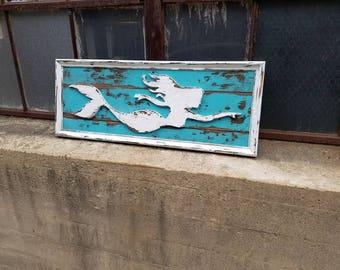 Rustic Mermaid Sign - vintage, nautical, folk art