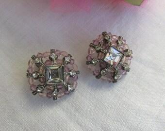 Earrings - Pinks Beads - Rhinestones - Clip On - Vintage