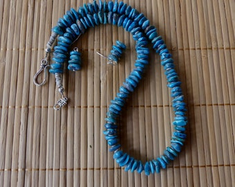 22 Inch Unique Natural Arizona Mined Rustic Natural Blue Turquoise Necklace with Earrings