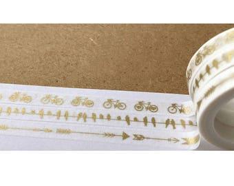 Diary Scrapbook Adhesive Masking Deco Washi Tape - Set of 3 Golden Bicycle Bird Arrow (7 mm width)