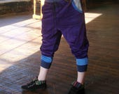 Eco Friendly Purple Organic cotton baller hipppie patchwork jogger pants womens RESERVED for HULIA