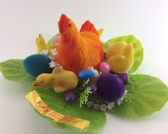 Easter Decoration Kitsch Easter Eggs and Chicks Flocked Easter Decor Flocked Hen and Chicks Novelty Bright Colours