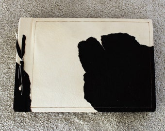Unique Vintage 1940's Cowhide Book Photo Album Journal Scrapbook