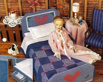 Country Attic Bedroom: Barbie Furniture Plastic Canvas Pattern FP04-01