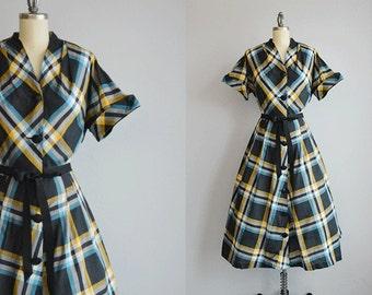 Vintage 1950s Dress / 50s Bias Cut Cotton Plaid Day Dress / Black Turquoise Plaid Patterned Dress
