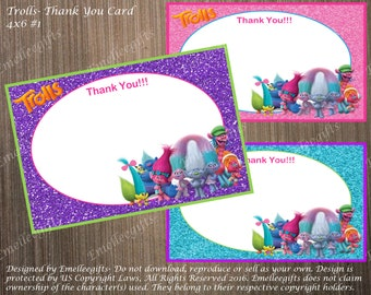 Trolls Thank You Note Cards ~INSTANT DOWNLOAD~