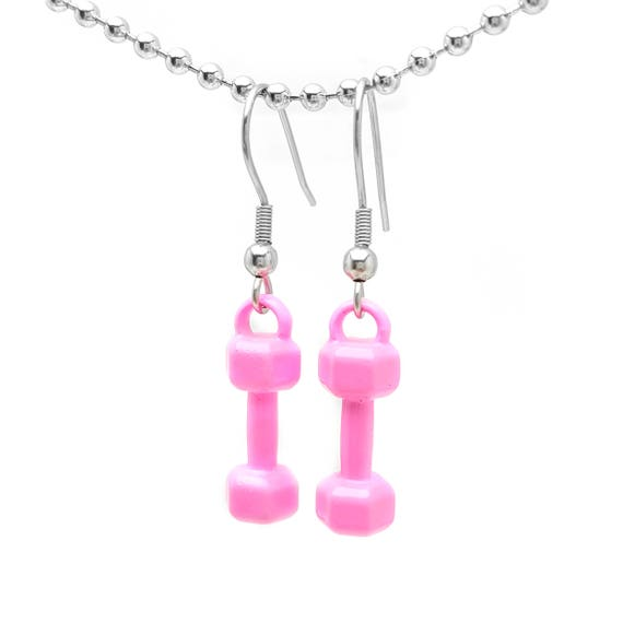 Hot Pink Mini Dumbbell Earrings - Nickel Free Fitness Jewelry - Gym Accessories - Workout - Lifting - Barbell - Xmas Gifts for Her - Goals