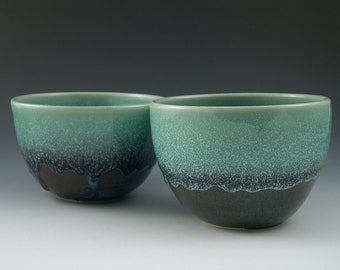Cereal Bowl Soup Bowl in Aqua and Dark Blue Handmade Ceramics