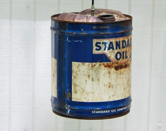 Standard Oil Can LIght, Antique Oil Can Light, Pendant LIght Industrial Light Rustic LIght Unique Hanging LIght Vintage Oil Can Gift for Dad