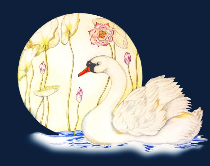 LIMITED EDITION Night Swan in Lotus Pond, A Dream in which a White Swan appears in an Indigo Dark Night near a Lotus Pond, Dream Bird Print