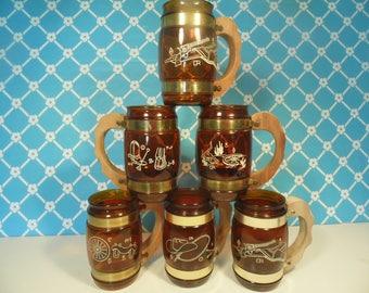 6 Siestaware Glass Mugs - Western Theme - 12 oz