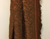 Vintage Tapestry Bedspread, Regal Regency Bedspread, Brown and Orange 1970s Bedspread, Decadent Decor