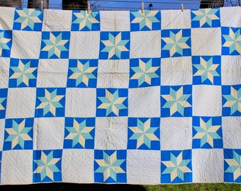 Antique Patchwork Quilt Hand Quilted Vintage Stars Blue Aqua Yellow White 1930s
