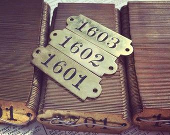 ONE Antique numbered brass room number - brass locker plate - safe deposit box number - vintage room number tags - gym locker basket number