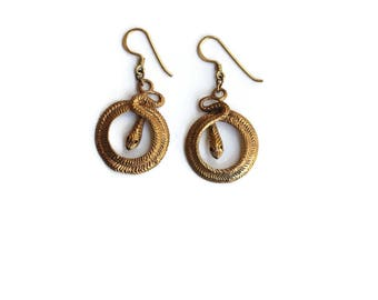 Vintage Bronze Snake Statement Earrings