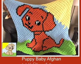 C2C Graph, Puppy Baby Blanket C2C Graph & Written Word Chart