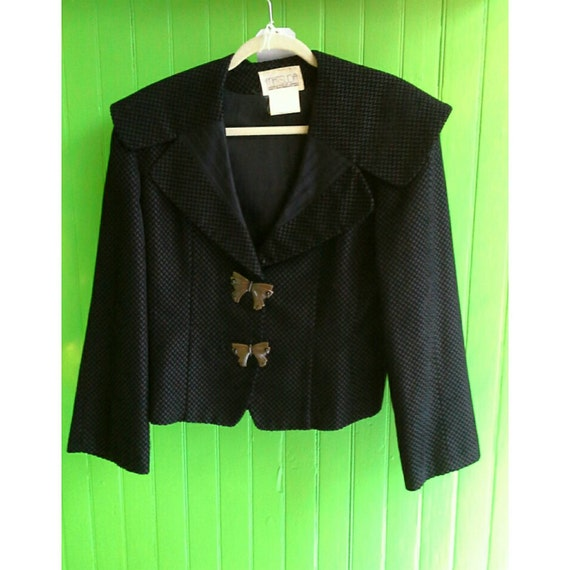 Vintage Matsuda Japan 1980's Quilted Black Oversized Collar Jacket Butterfly Buttons