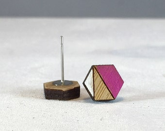 Wood Earrings // White and Pink Hexagon Bamboo // Geometric // Hypoallergenic  // Wood Jewelry //