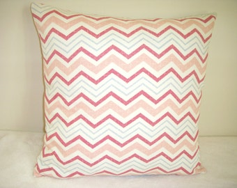 Pink Pillow Cover Stripe Rose Blue Cream Chevron Wavery Cotton Zipper Farmhouse Shabby Chic Country Modern Cottage