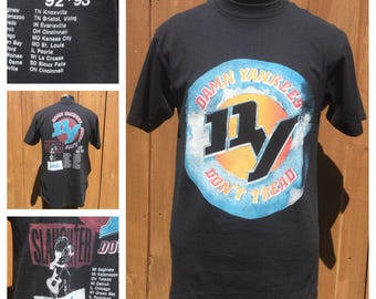 VINTAGE -- 1992 DAMN YANKEES/Slaughter/Jackyl -- Double Sided Concert T-Shirt -- Tour Shirt -