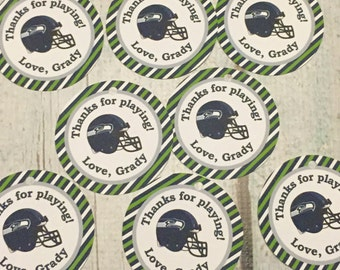 SEATTLE SEAHAWKS FOOTBALL Inspired Happy Birthday Party or Baby Shower Favor Tags One Dozen (12) -  Party Packs Available