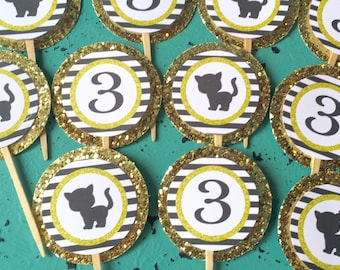 KITTY SILHOUETTE Black White Gold Happy Birthday Party Cupcake Toppers 12 {One Dozen} - Party Packs Available