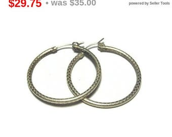SALE Sterling hoop earrings, large sterling silver hoop earrings, textured 925 hoop pierced tubular light earrings