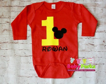 Personalized Mickey Mouse Birthday Shirt, ADD NAME , Long or Short Sleeve , Mickey Mouse Shirt , Boys Birthday Shirt
