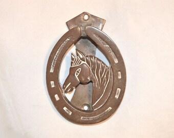 Bronze Horse and Lucky Horseshoe Door Knocker Vintage