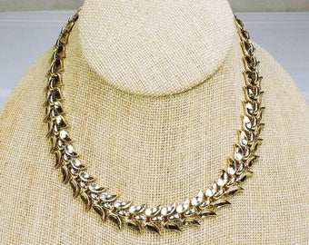 Vintage Trifari Choker Necklace, Gold Tone
