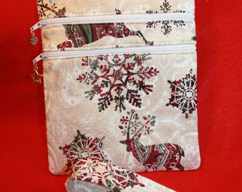 Handcrafted Snowflake - Reindeer Crossbody Bag  - Adj Strap   FREE SHIPPING