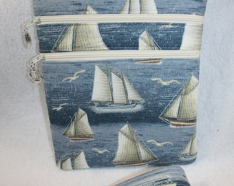 Sailboat - Schooner - Nautical Themed Crossbody Bag w/adj Strap
