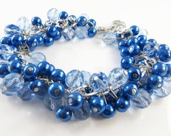 Shades of blue cha cha bracelet