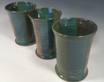 Ceramic Pint Cup-Handmade Ceramic Tumbler -Handmade pottery cup- 16 oz - Ocean Green - Ready to Ship- ceramics - pottery - stoneware