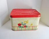 Vintage Bread Box Enamel Tin Red Plaid Floral Rustic Chippy Metal