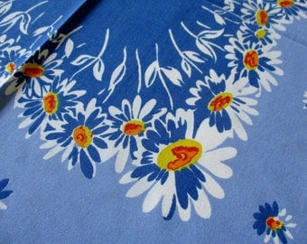Vintage Tablecloth Blue and White Floral 54 x 48 Cotton