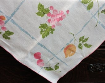 """Fruits and Flowers on White Background -Linen Square Tablecloth 33""""x33"""" -Pink Green Blue Golden Yellow"""