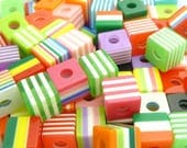 Striped Resin Cube Beads - 20pcs - Mixed Colors, Green, Pink, Purple, Blue, Yellow, Multicolor - 10mm Square Cubes - 4mm Bead Holes - BP21