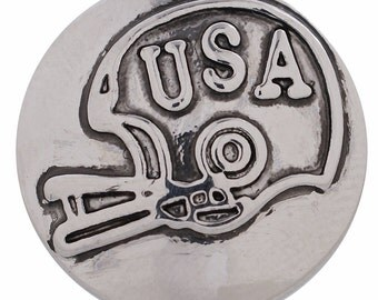 1 PC - 18MM Football Helmet Silver Charm for Candy Snap Jewelry KC5122 Cc2953