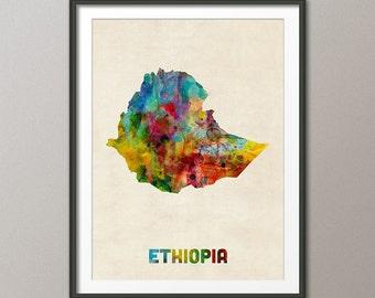 Ethiopia Watercolor Map, Art Print (2721)