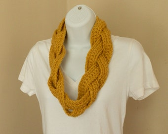 Braided Crochet Infinity Scarf -- 16 Colors to Choose From Crochet Scarf Custom Cowl