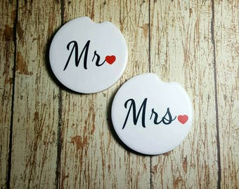 Car Cup Holder Coasters Wedding Gift Car Coasters Mr and Mrs Decor
