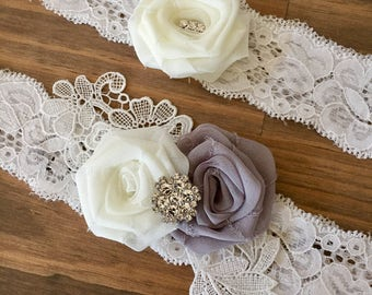 Wedding Garter/Garter/Bridal Garter/Lace Garter Set/Grey Garter Set/Bridal Accessories/Vintage Wedding