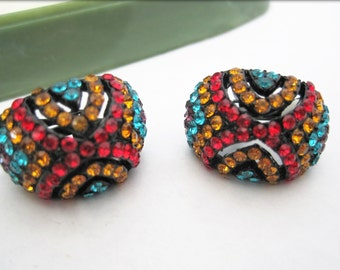 Rhinestone Earrings - Bright Multicolor - Clip Ons 70's