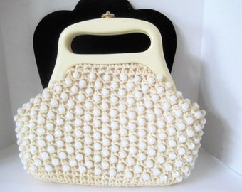 White Beaded Straw Purse - Summer Bag - Lucite Handle - Signed Gay Marie
