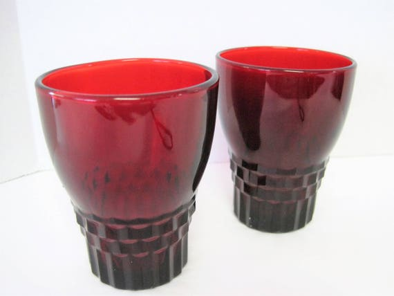 Ruby Red Depression Glass - Set of 2 Juice Glasses  - Windsor Pattern by Anchor Hocking